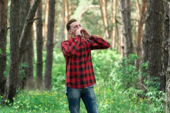 Man lost in the woods and calling for help